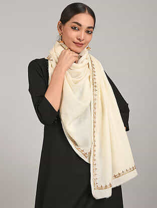 Off White Cashmere Wool Stole with Gota Patti Work