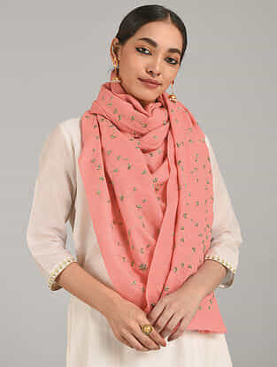 Pink Cashmere Wool Stole with Aari Work