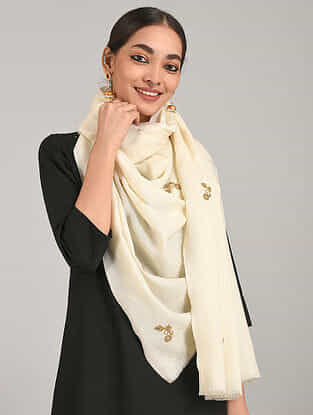 Off White Cashmere Wool Stole with Aari Work