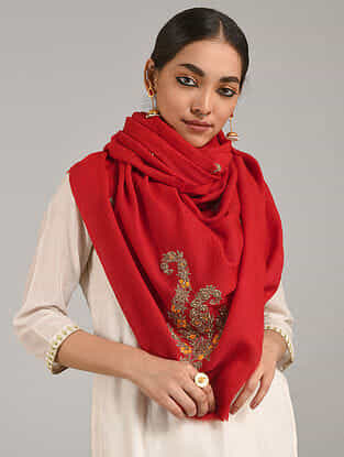 Red Cashmere Wool Stole with Cutdana and Aari Work