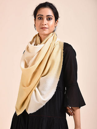 Beige-Off-White Ombre Dyed Wool Stole