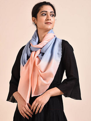 Blue-Peach Ombre Dyed Wool Stole