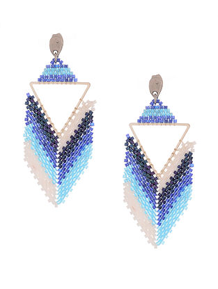 Blue-White Handcrafted Glass Beaded Earrings