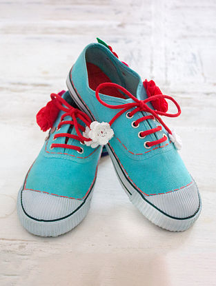 Blue Handcrafted Upcycled Canvas Sneakers with Embellishments