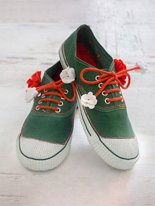 Green Handcrafted Upcycled Canvas Sneakers with Embellishments