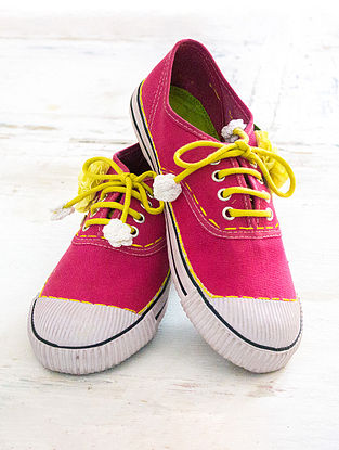Pink Handcrafted Upcycled Canvas Sneakers with Embellishments