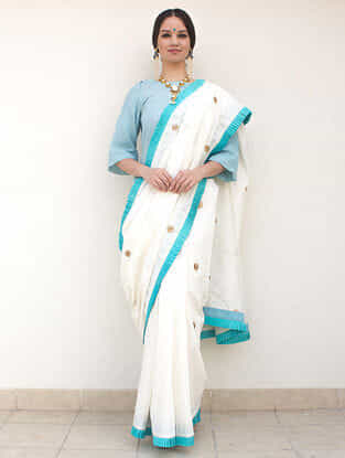 Ivory Zari-Embroidered Cotton-Silk Saree
