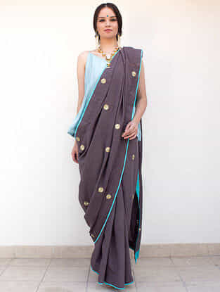 Grey Hand-Embroidered Cotton-Silk Saree