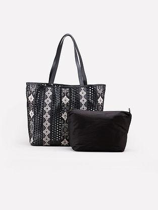 Black White Leatherite Tote Bag