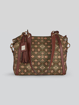 Green Printed Leatherette Tote Bag