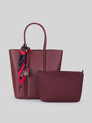 Burgundy Leatherite Tote Bag