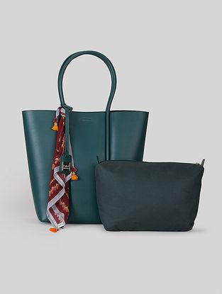 Emerald Green Leatherite Tote Bag