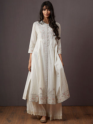 Ivory Embroidered Polyester Kurta with Pants (Set of 2)