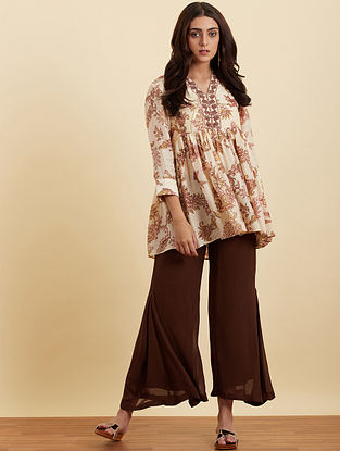 Chocolate Brown Viscose Georgette Palazzos