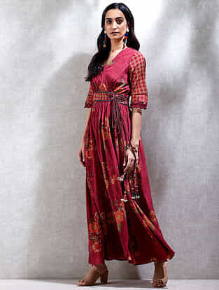 Red Printed Viscose Crepe Kurta Dress with Slip (Set of 2)