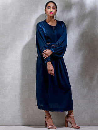 Indigo Cotton Slub Kurta Dress