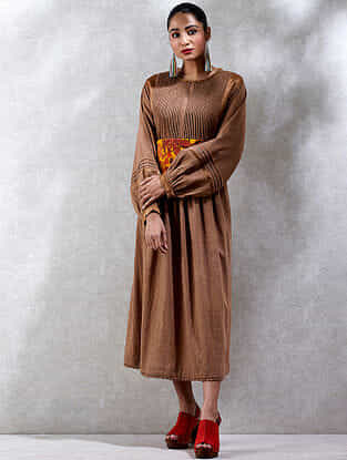 Camel Cotton Slub Kurta Dress