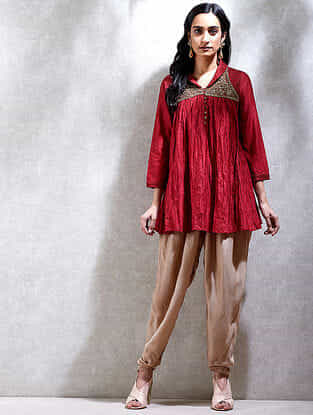 Red Winged Collar Cotton Silk Short Kurta with Embroidery
