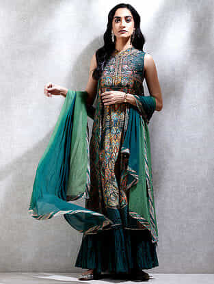 Emerald Printed Viscose Crepe Kurta with Slip, Sharara and Dupatta (Set of 4)