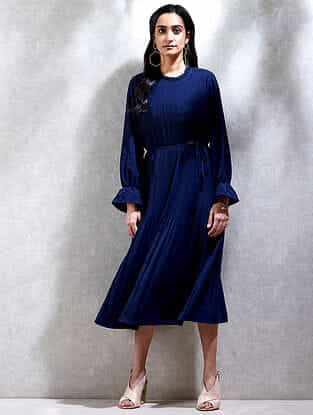 Navy Mandarin Collar Crepe Kurta Dress