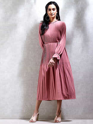 Rose Pink Mandarin Collar Crepe Kurta Dress