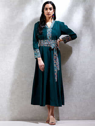 Green Crepe Kurta Dress