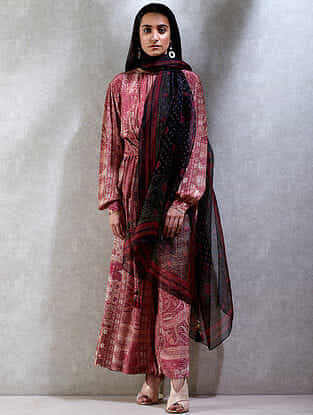 Powder Pink Printed Viscose Crepe Short Kurta