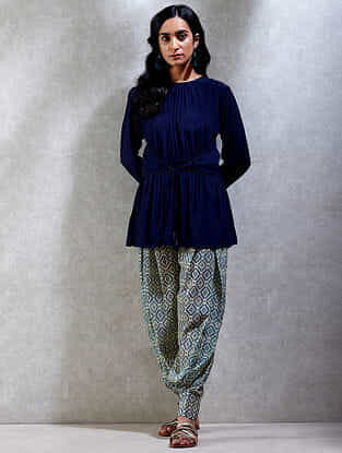 Midnight Blue Viscose Crepe Short Kurta