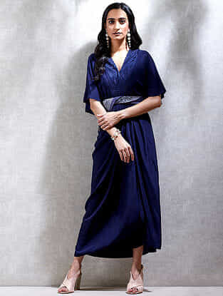 Midnight Blue Viscose Crepe Kurta Dress with Scarf (Set of 2)