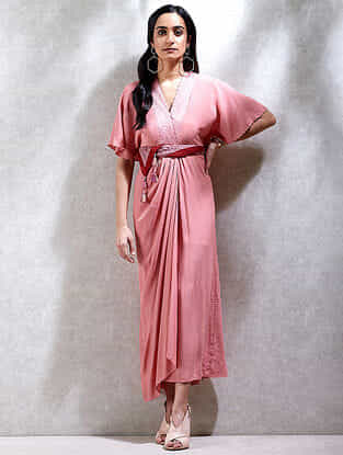 Dusty Rose Viscose Crepe Kurta Dress with Scarf (Set of 2)