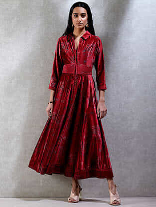 Red Printed Winged Collar Velvet Kurta Dress