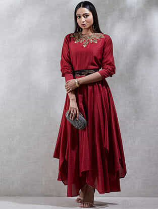 Red Cotton Silk Kurta Dress