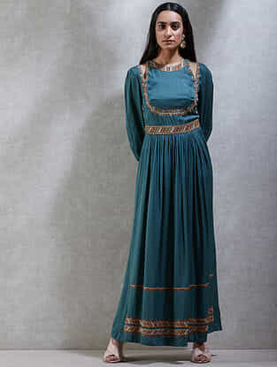 Teal Viscose Blend Kurta Dress