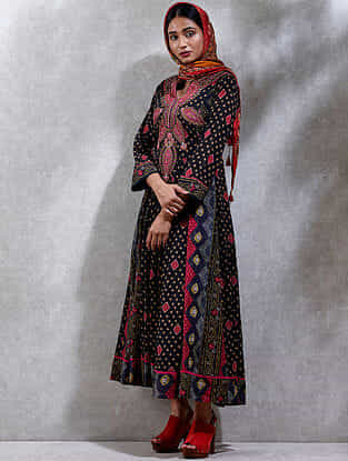 Black Printed Cotton Blend Kurta Dress