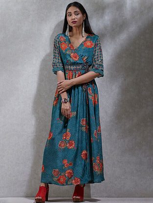 Teal Printed Viscose Crepe Kurta Dress with Slip (Set of 2)