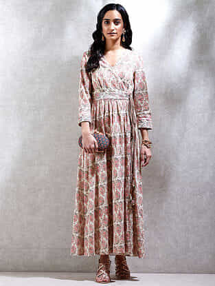 Ecru Printed Cotton Slub Kurta Dress