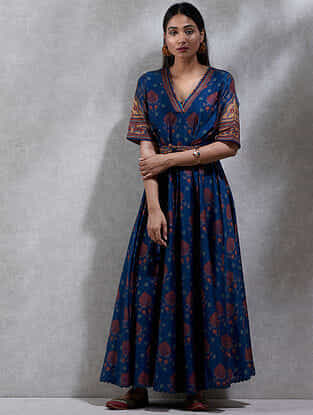 Navy Printed Cotton Silk Kurta Dress