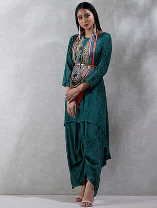 Green Viscose Kurta Dress with Scarf (Set of 2)