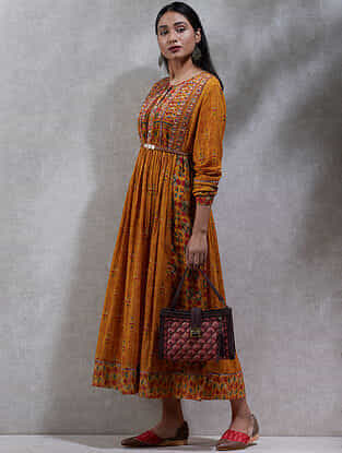 Mustard Printed Cotton Blend Kurta Dress