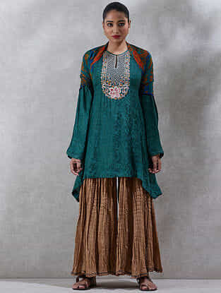 Green Embroidered Viscose Jacquard Short Kurta