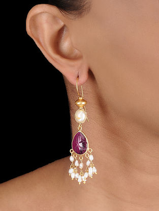 Pink Gold-plated Silver Earrings with Fresh Water Pearls