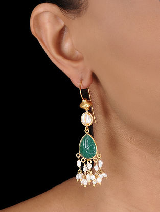 Green Onyx Gold-plated Silver Earrings with Fresh Water Pearls
