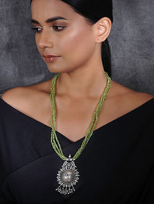 Peridot Beaded Silver Necklace