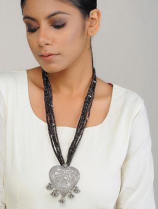 Smoky Quartz Beaded Silver Necklace