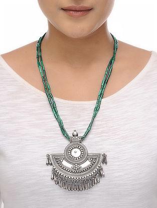 Malachite Beaded Silver Necklace