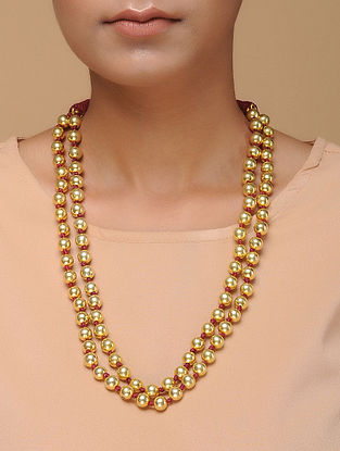 Gold Tone Beaded Silver Necklace