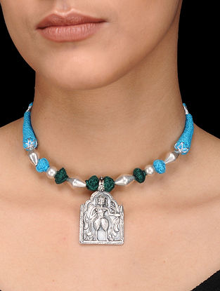 Green-Blue Thread Silver Necklace with Deity Motif