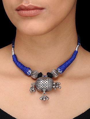 Blue-Black Thread Silver Necklace