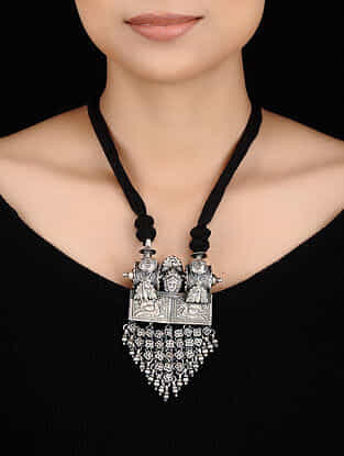Black Thread Tribal Silver Necklace with Peacock Motif