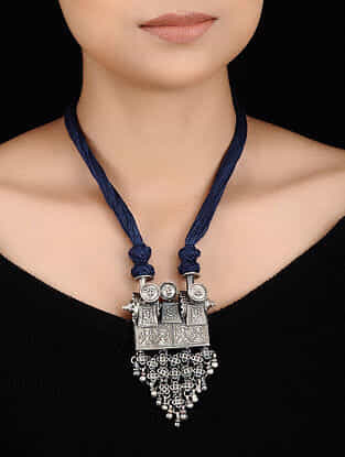 Blue Thread Tribal Silver Necklace with Deity Motif